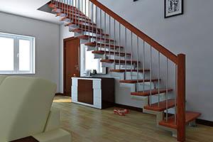 Монтаж лестницы на металлокаркасе