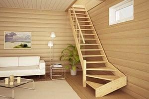 Установить деревянную лестницу на второй этаж